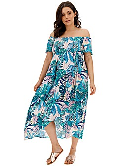 Crinkle Shirred Maxi Dress