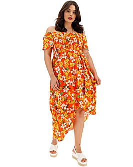 Floral Crinkle Shirred Maxi Dress
