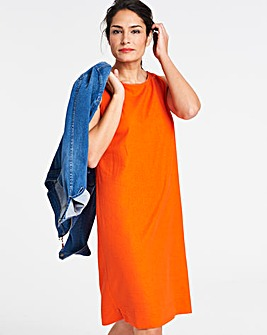 Orange Linen Neck Trim Shift Dress