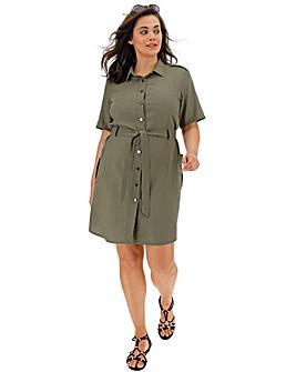Khaki Linen Safari Shirt Dress