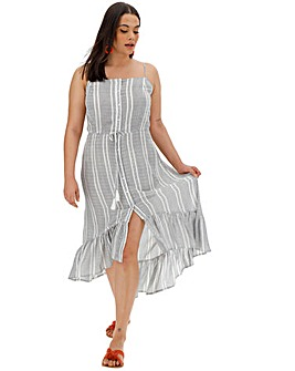 Stripe Hi-Low Ruffle Dress