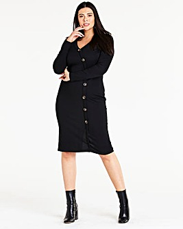 Side Button Ribbed Jersey Dress