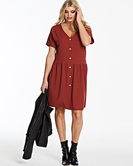 Button Through Ribbed Jersey Swing Dress