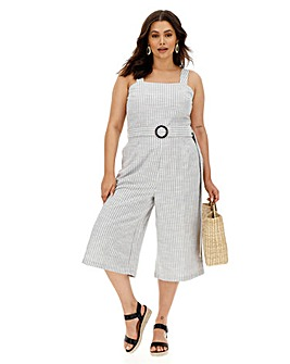 Soft Stripe Belted Culotte Jumpsuit