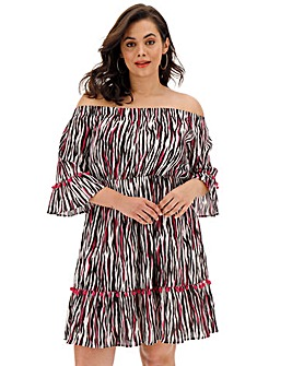 Zebra Print Bardot Mini Dress with Trims