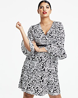 Mono Animal Print Wrap Dress