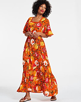 Orange Crinkle Square Neck Maxi Dress