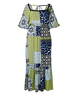 Print Crinkle Square Neck Maxi Dress