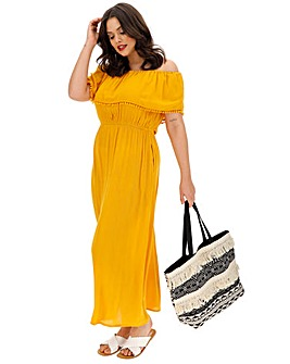 Crinkle Pom Pom Trim Maxi Dress