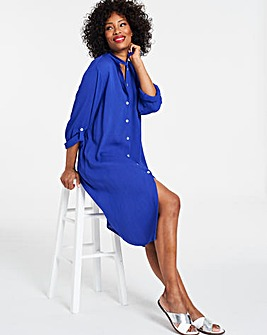 Crinkle Over Shirt Dress