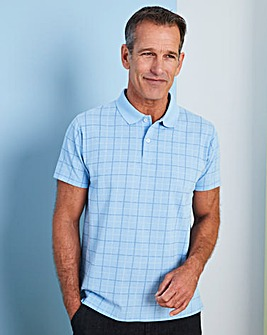Premier Man Blue Check Polo Shirt R