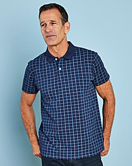 Premier Man Navy Check Polo Shirt R