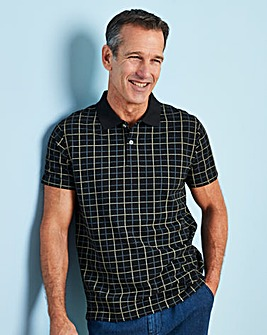 Premier Man Black Check Polo Shirt R