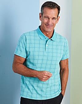 Premier Man Aqua Check Polo Shirt R