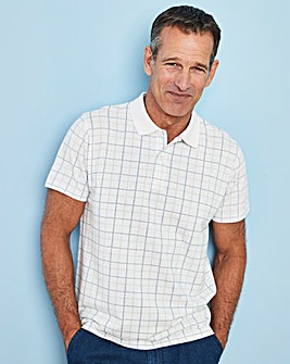 Premier Man White Check Polo Shirt R