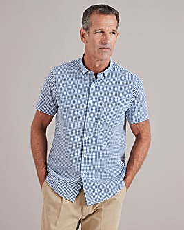 Navy Check Seersucker Shirt Regular