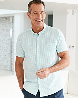 Aqua Check Seersucker Shirt Regular