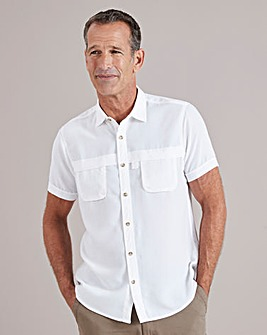 White Short Sleeve Outdoor Shirt Regular