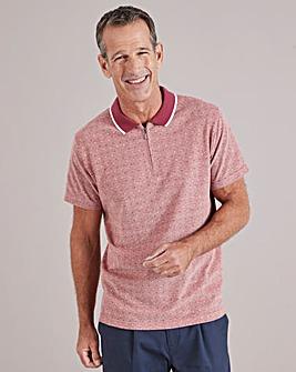 Red Spot Short Sleeve Zip Neck Polo Shirt Regular
