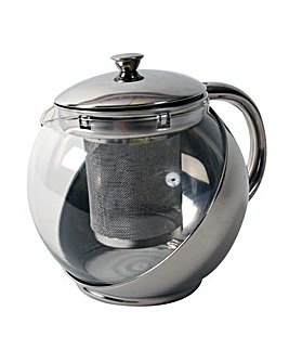 Quest stainless steel and glass teapot