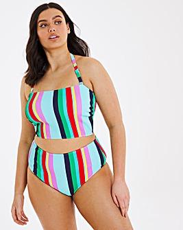 Mix and Match Textured Deep Bandeau Bikini Top