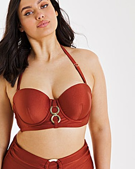 Underwired Ring Bandeau Bikini Top