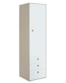 White & Acacia 1 Door 3 Drawer Wardrobe