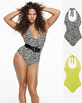 Value Basic Two Pack Plunge Swimsuits