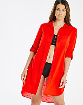 Adjustable Side Cotton Beach Shirt
