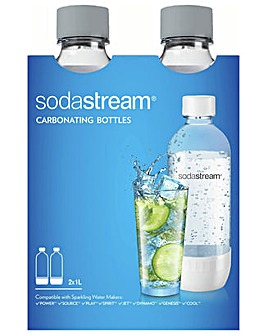 SodaStream 2 x 1 Litre Bottles - Grey