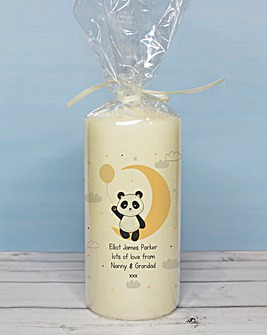 Personalised Panda Pillar Candle