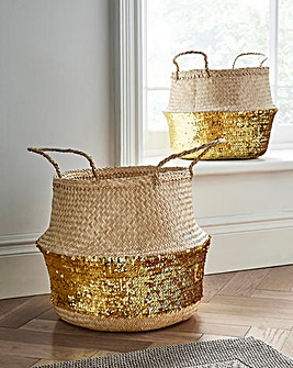 Set of 2 Gold Sequin Belly Baskets