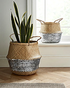 Set of 2 Silver Sequin Belly Baskets