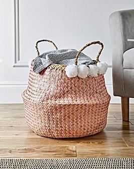 White Pom Pom Belly Basket