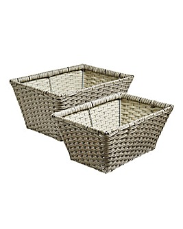 Set of 2 Poly Rattan Baskets