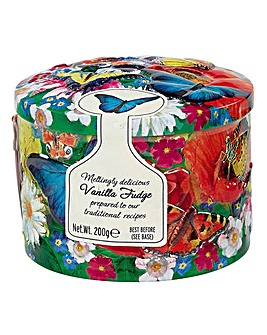 Butterfly Round Tin of Vanilla Fudge