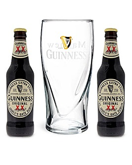 Personalised Guiness Glass and Bottles
