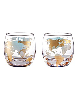 Set of 2 Globe Whisky Glass Tumblers