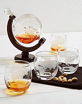 1L Globe Decanter and Glasses Gift Set