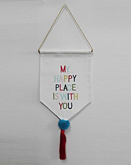 Happy Place Pom Pom Hanging Sign