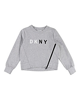 DKNY Girls Zip Crew Neck Sweatshirt