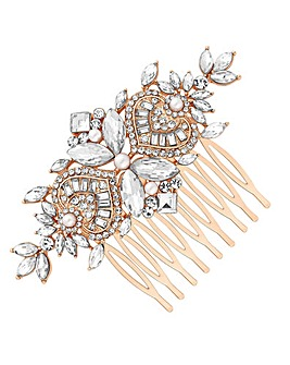 Jon Richard Rose Gold Plated Clear Crystal Navette Hair Comb