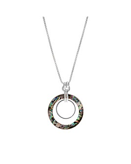 Silver Plated Abalone Inlay Long Pendant Necklace