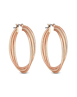 Rose Gold Plated Texture Cross Over Hoop Earring