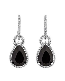 Jon Richard Pave & Black Pear Earring
