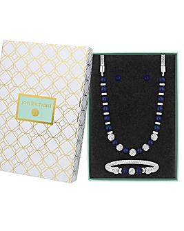 Silver Plated Navy Pearl Crystal Pave Ball 3 Piece Set - Gift Boxed