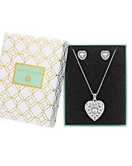 Silver Plated Crystal Filagree Heart Locket Set - Gift Boxed