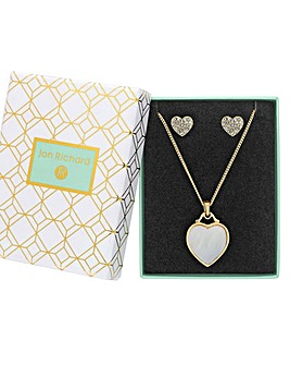 Gold Plated Mother of Pearl Heart Filigree Set - Gift Boxed
