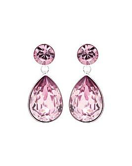 Silver Plated Tonal Pink Teardrop Earring