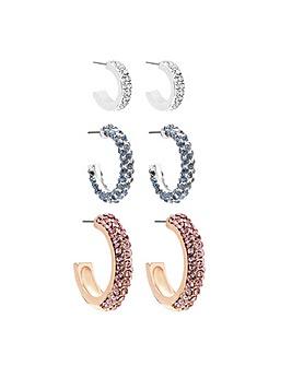 Mood Silver Plated Pastel Hoop Earrings